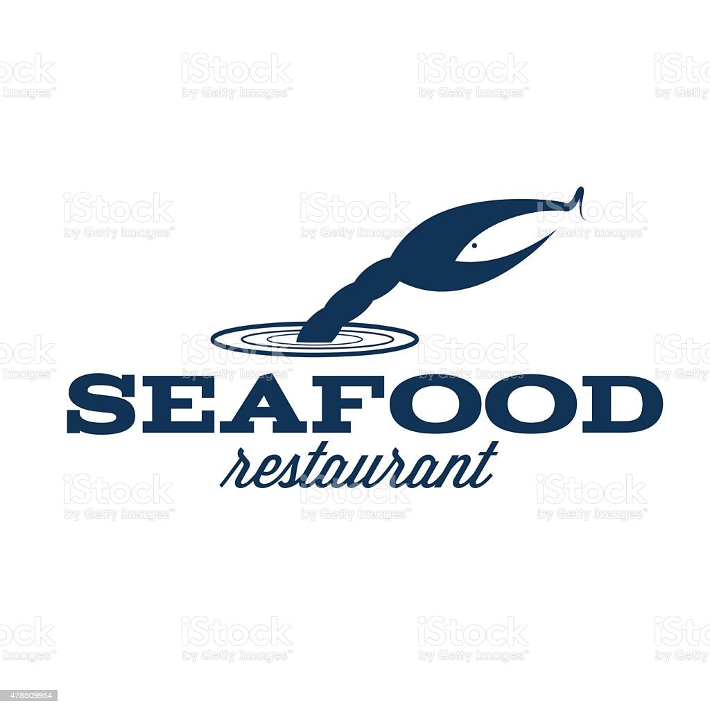 seafood restaurant illustration with claw and fish vector art illustration