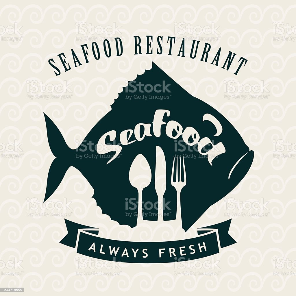 seafood restaurant with fish vector art illustration