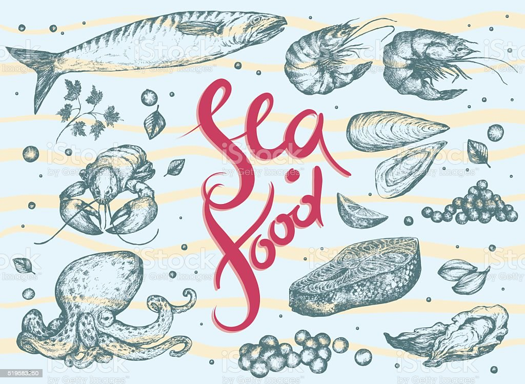 Seafood Set. Hand drawn Vector illustration with Realistic sketches. vector art illustration