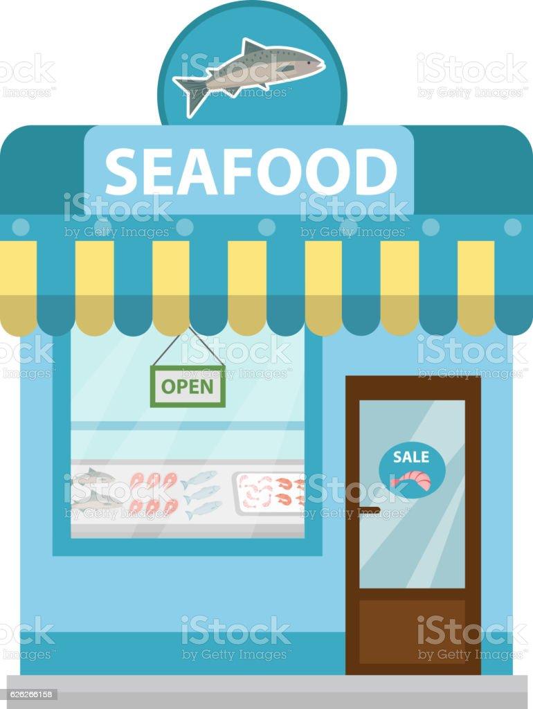 Seafood shop building, showcase vector icon flat style. Fish market vector art illustration