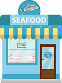 Seafood shop building, showcase vector icon flat style. Fish market