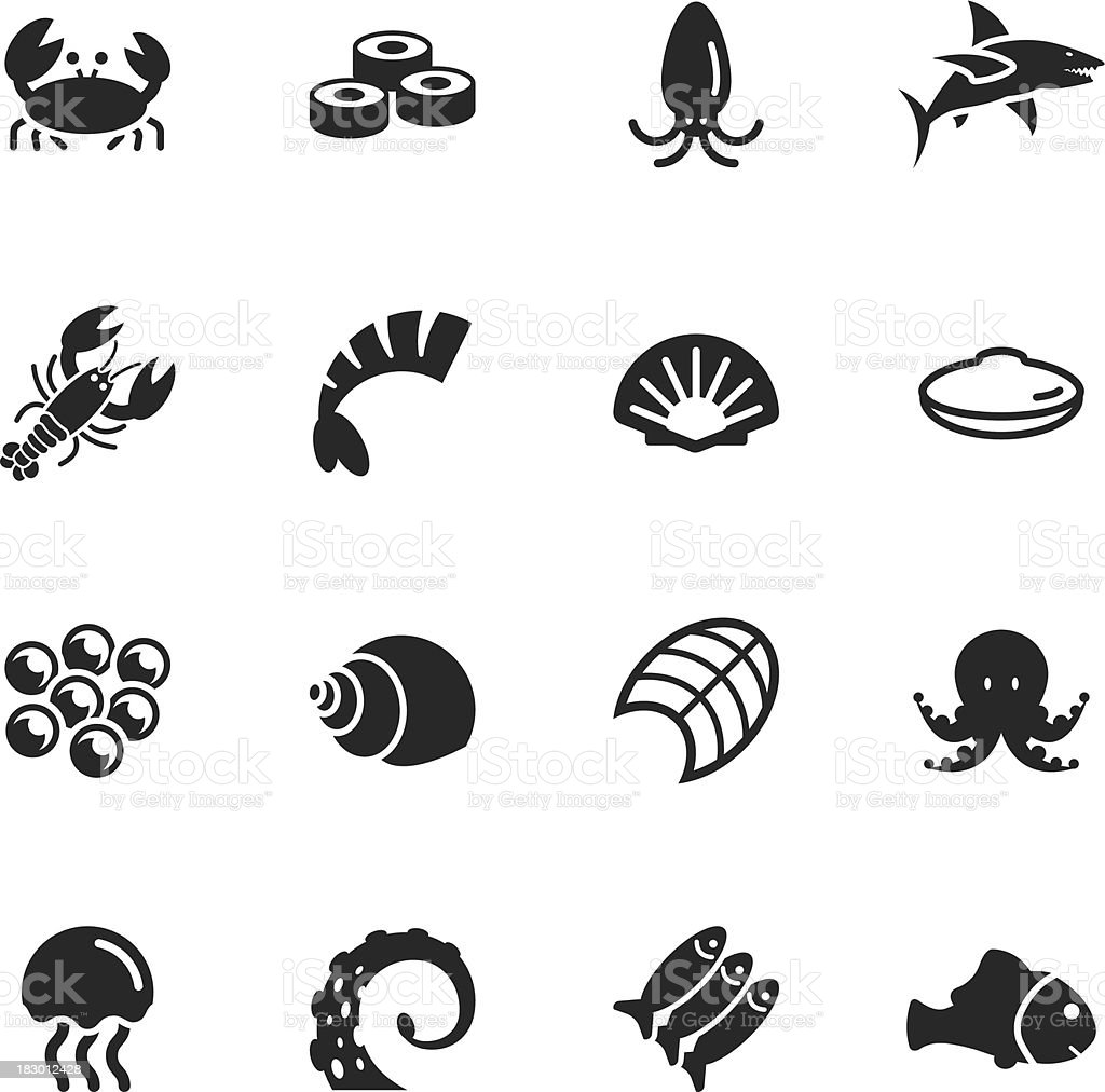 Seafood Silhouette Icons vector art illustration