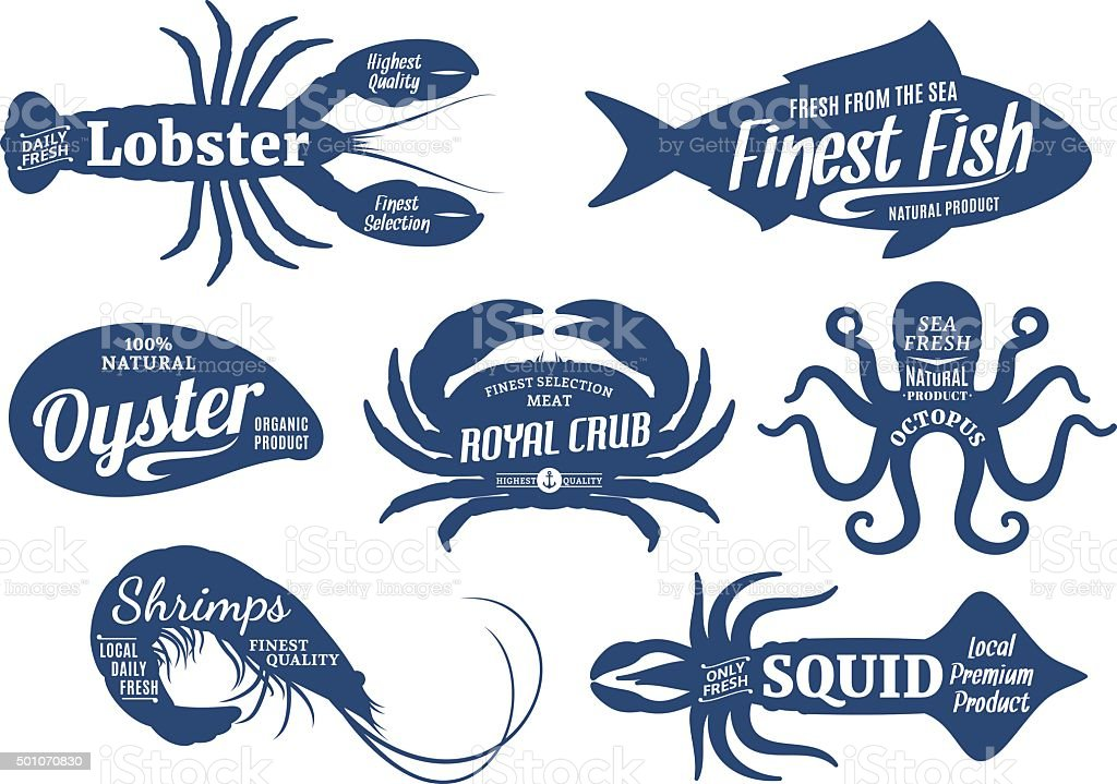 Seafood Silhouettes Collection, Seafood Shop Labels Templates vector art illustration