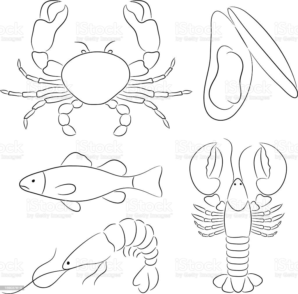 Seafood Sketch royalty-free stock vector art