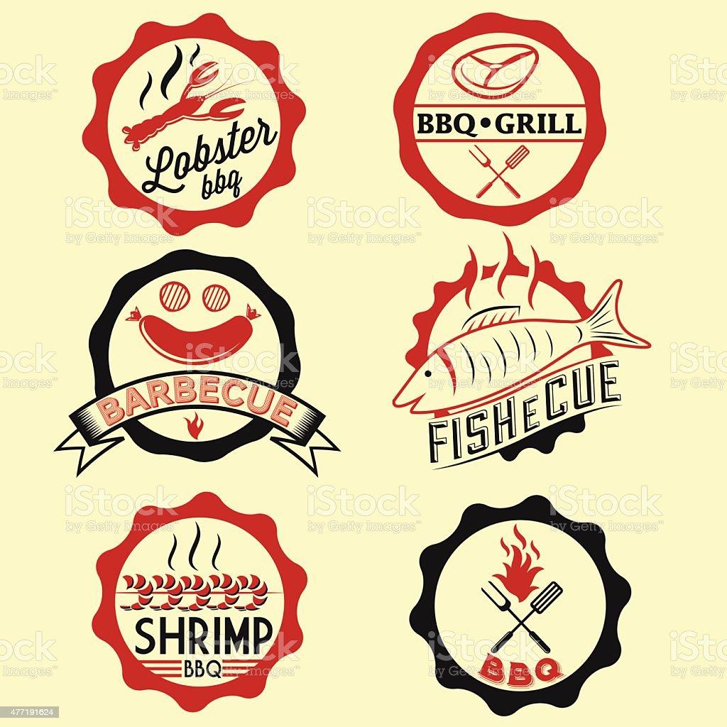 BBQ seafood steak labels, icons, badges template set vector art illustration