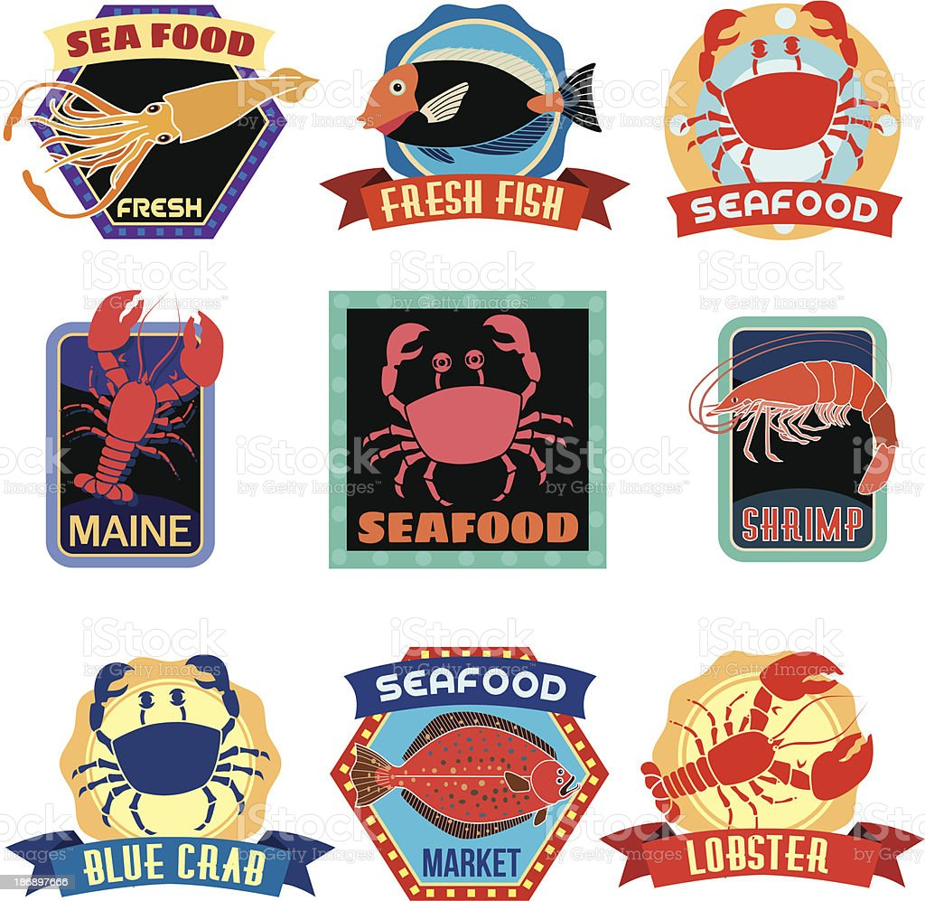 seafood stickers or labels royalty-free stock vector art