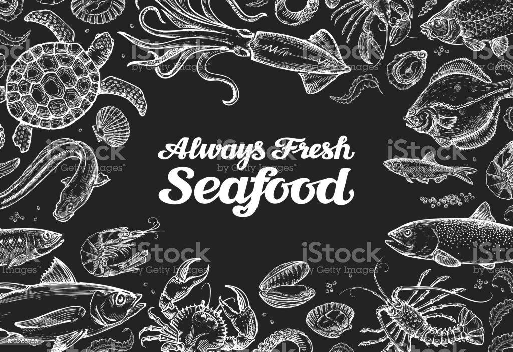 seafood. template design menu restaurant, cafe. hand drawn food vector art illustration