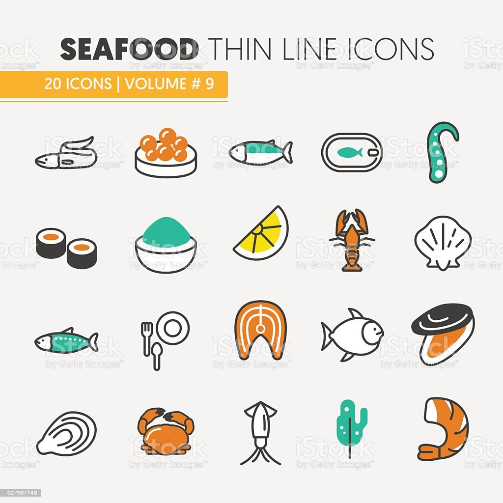 Seafood Thin Line Icons Set with Fish, Shrimp vector art illustration