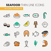 Seafood Thin Line Icons Set with Fish, Shrimp
