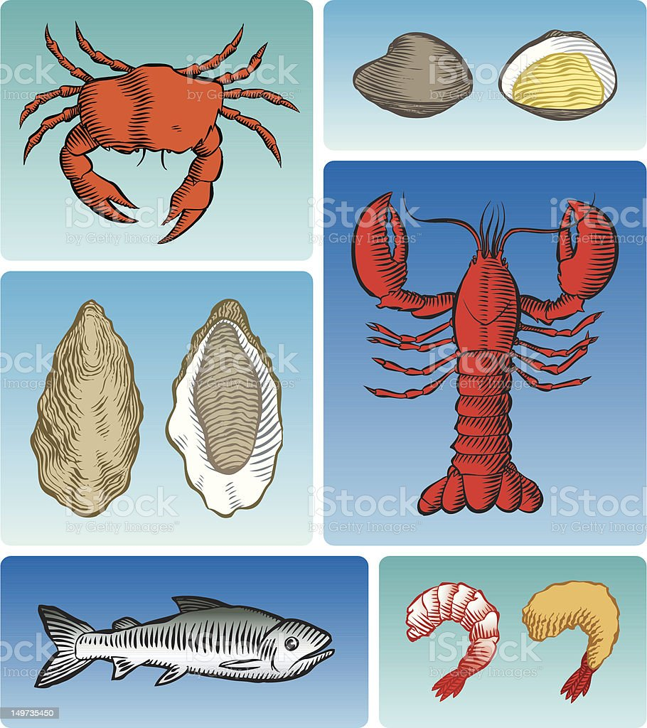 Seafood! (color) royalty-free stock vector art