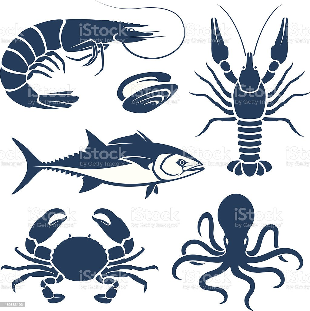 Seafood vector art illustration