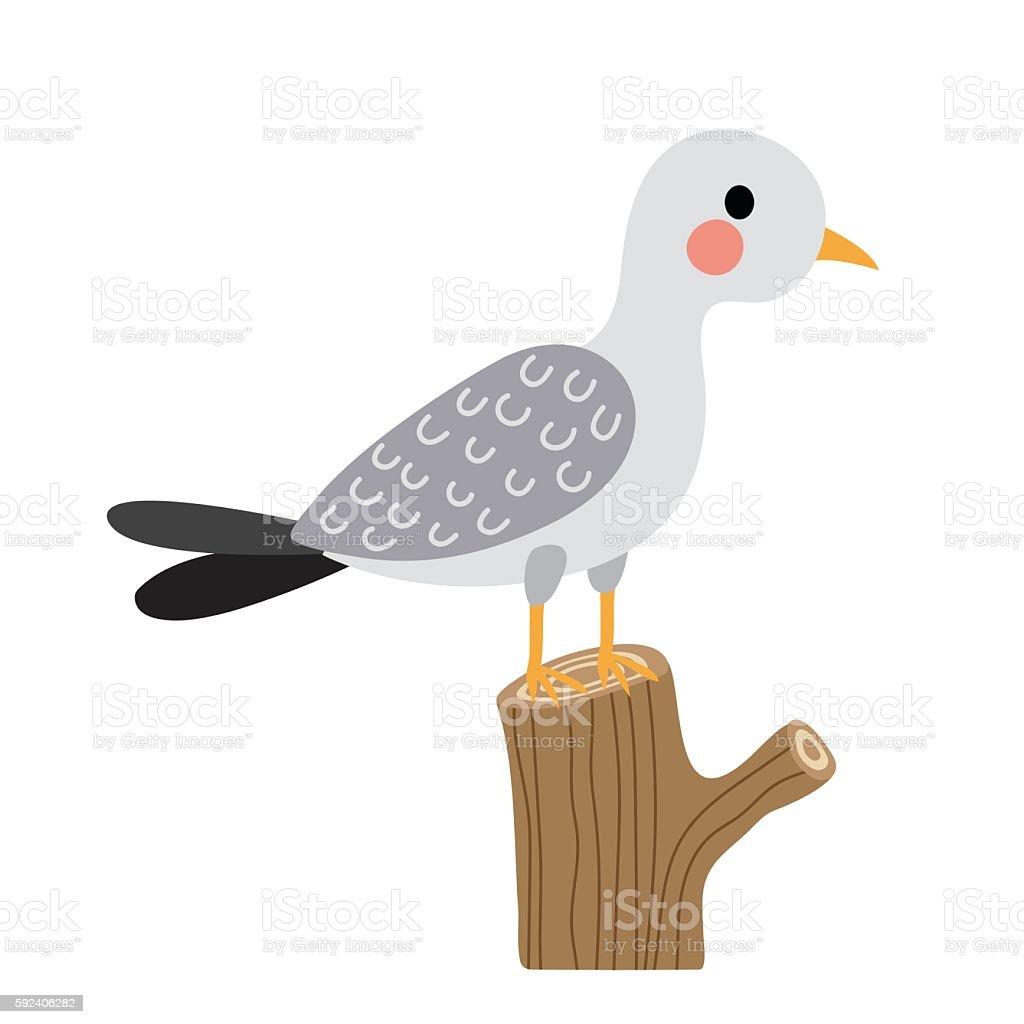 Seagull bird perching branch animal cartoon character vector illustration. vector art illustration