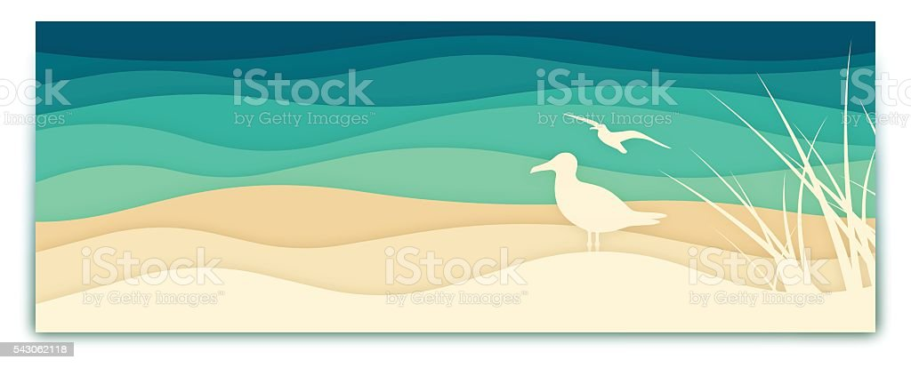 Seagull Ocean Banner vector art illustration