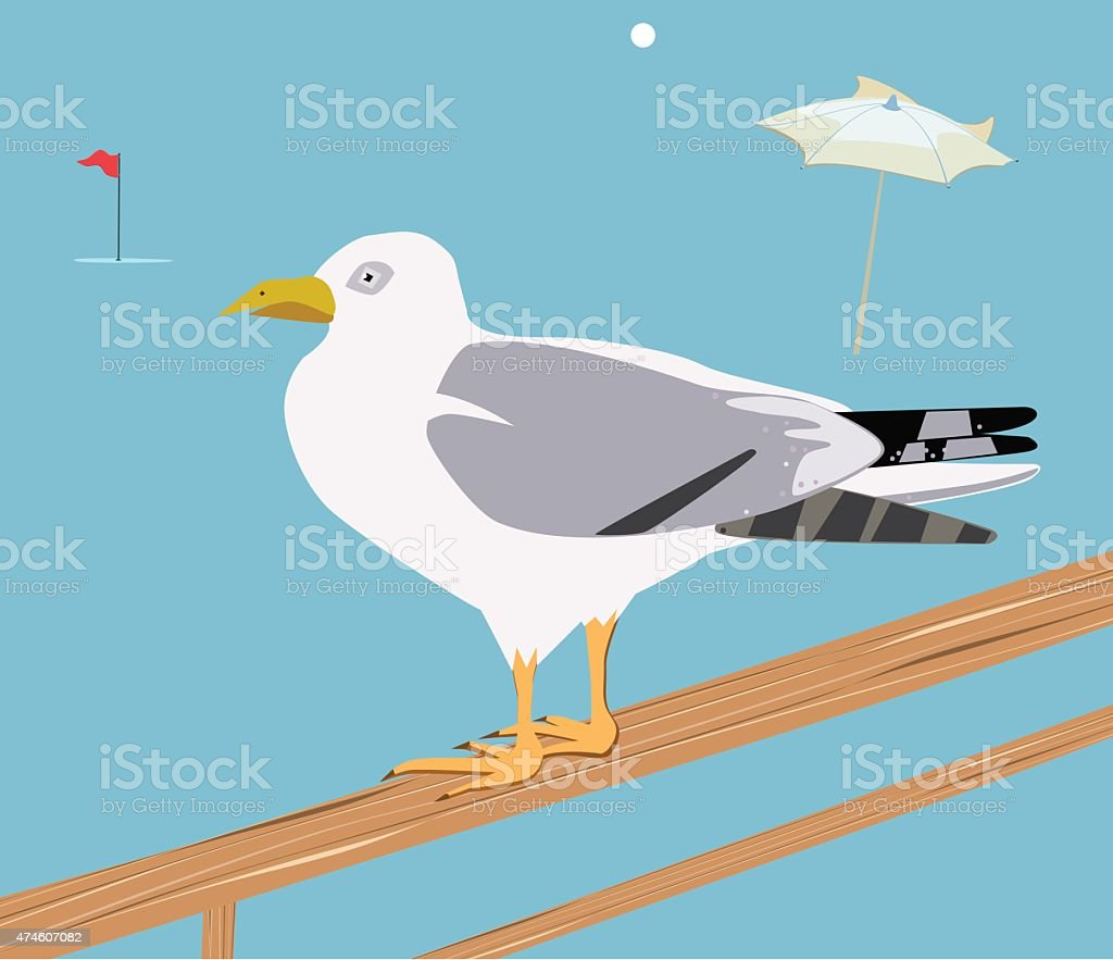 Seagull standing on a wooden crossbar vector art illustration