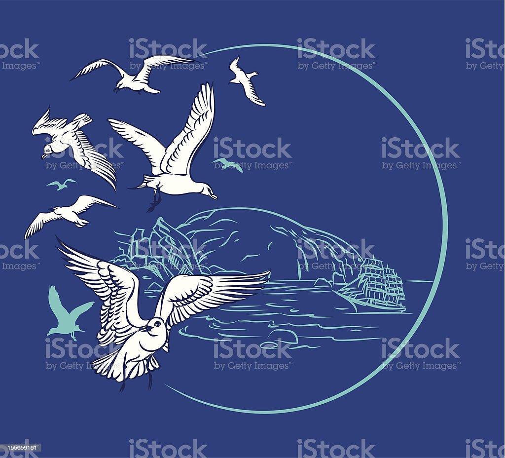 seagulls and sailing royalty-free stock vector art