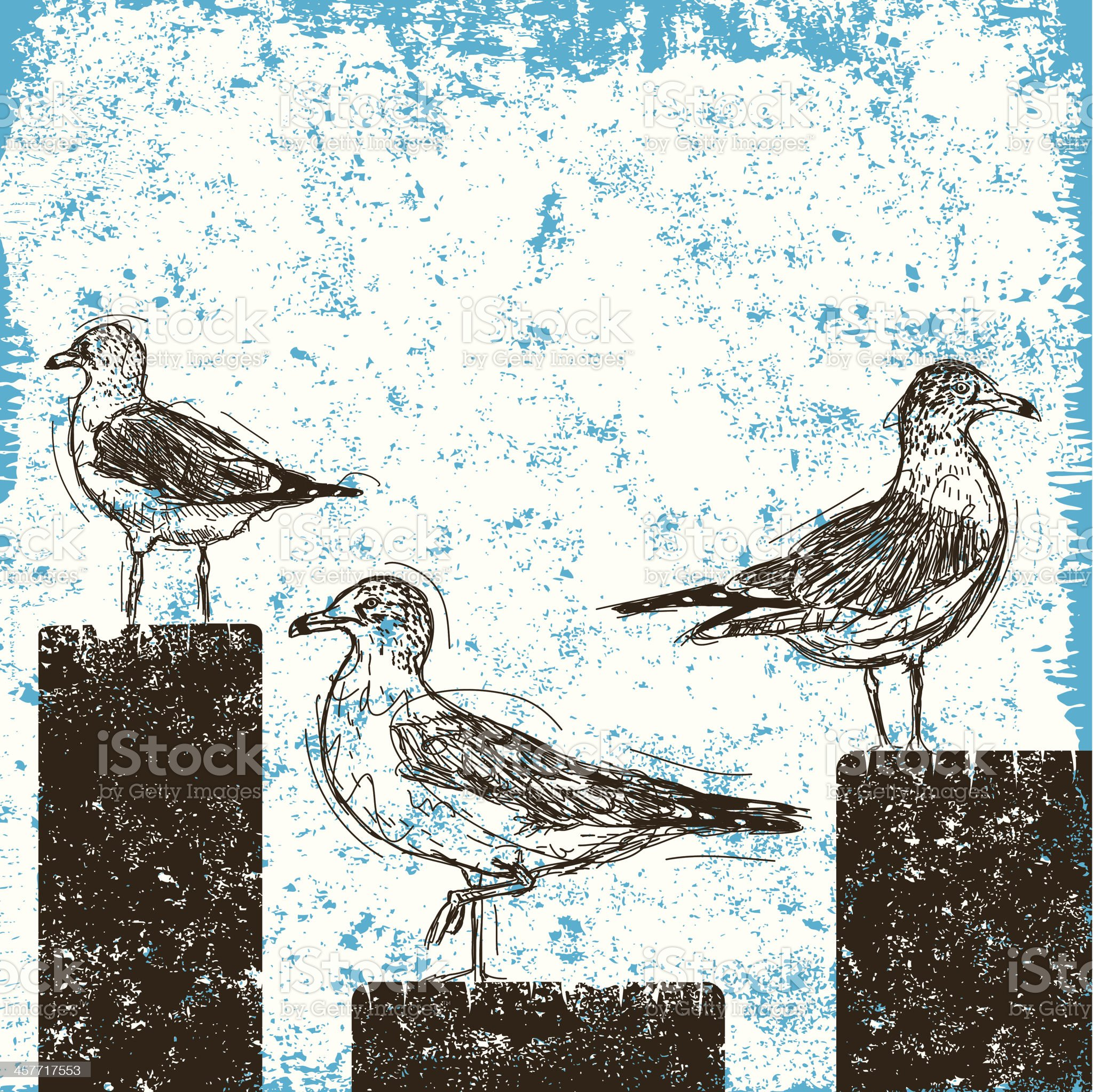 seagulls on pilings royalty-free stock vector art