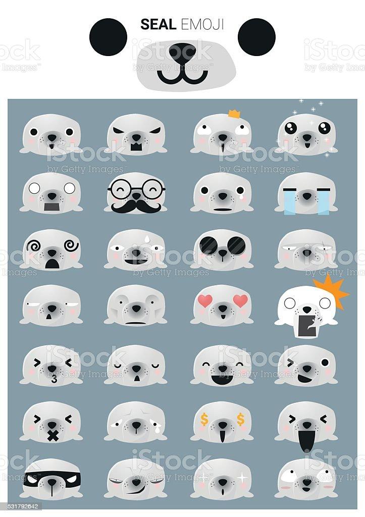 Seal emoji icons vector art illustration