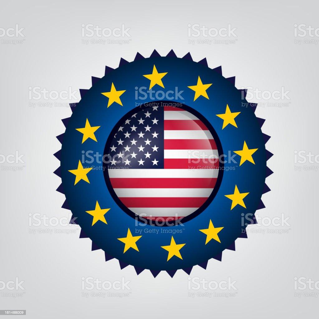 USA, EU seal, Flag, (Vector) royalty-free stock vector art