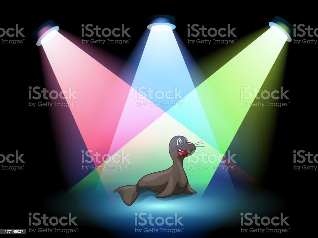 Seal in the middle of stage royalty-free stock vector art