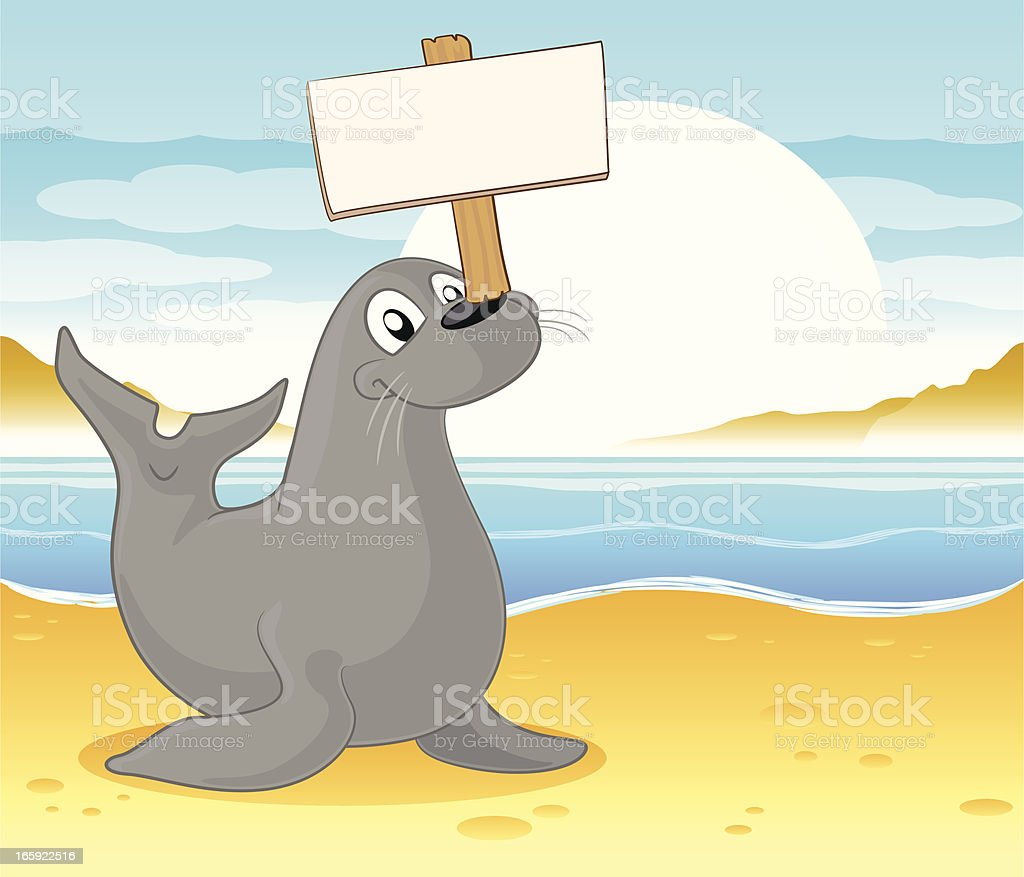 Seal with a blank sign vector art illustration