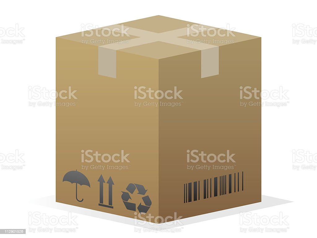 Sealed cardboard box, with barcode and recycling sign vector art illustration