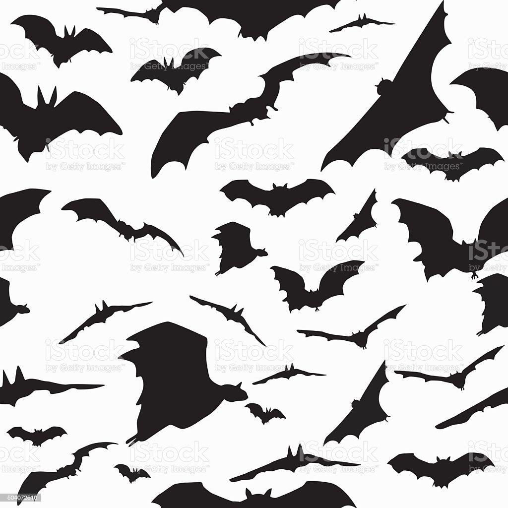 Sealess pattern with bats vector art illustration