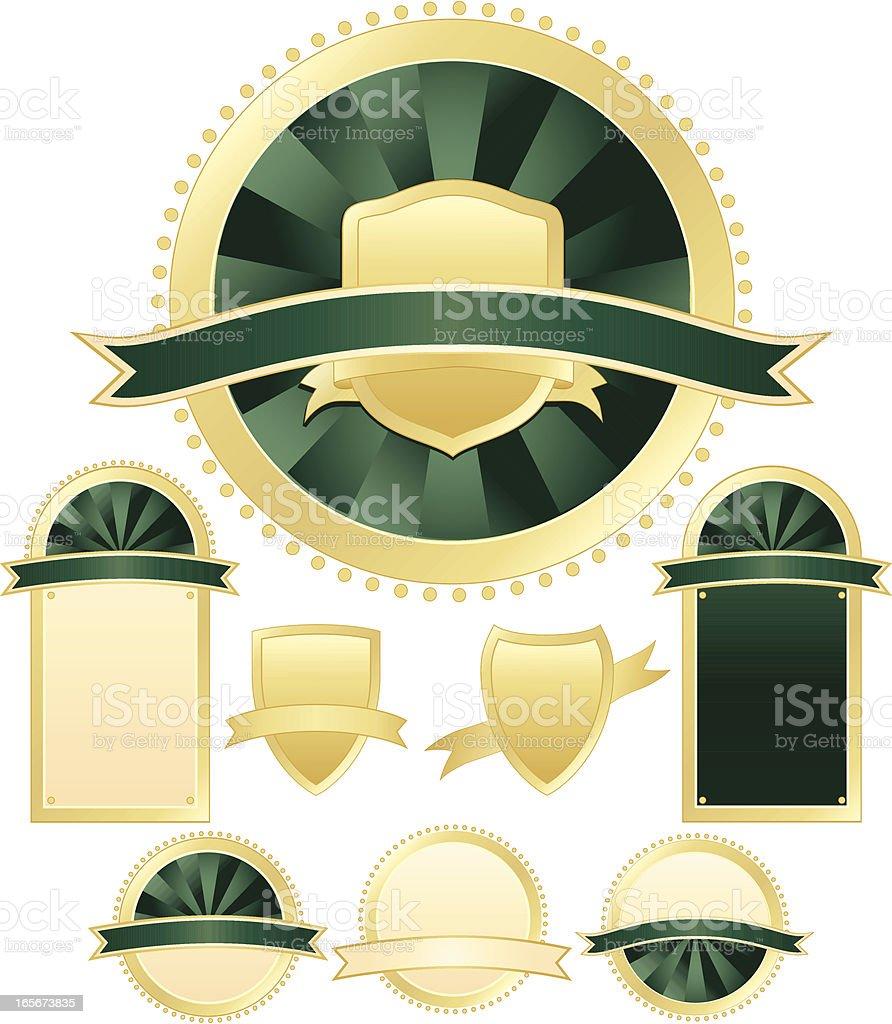 Robben und Schilder Set-üppigem Grün, Gold-Metallic Lizenzfreies vektor illustration