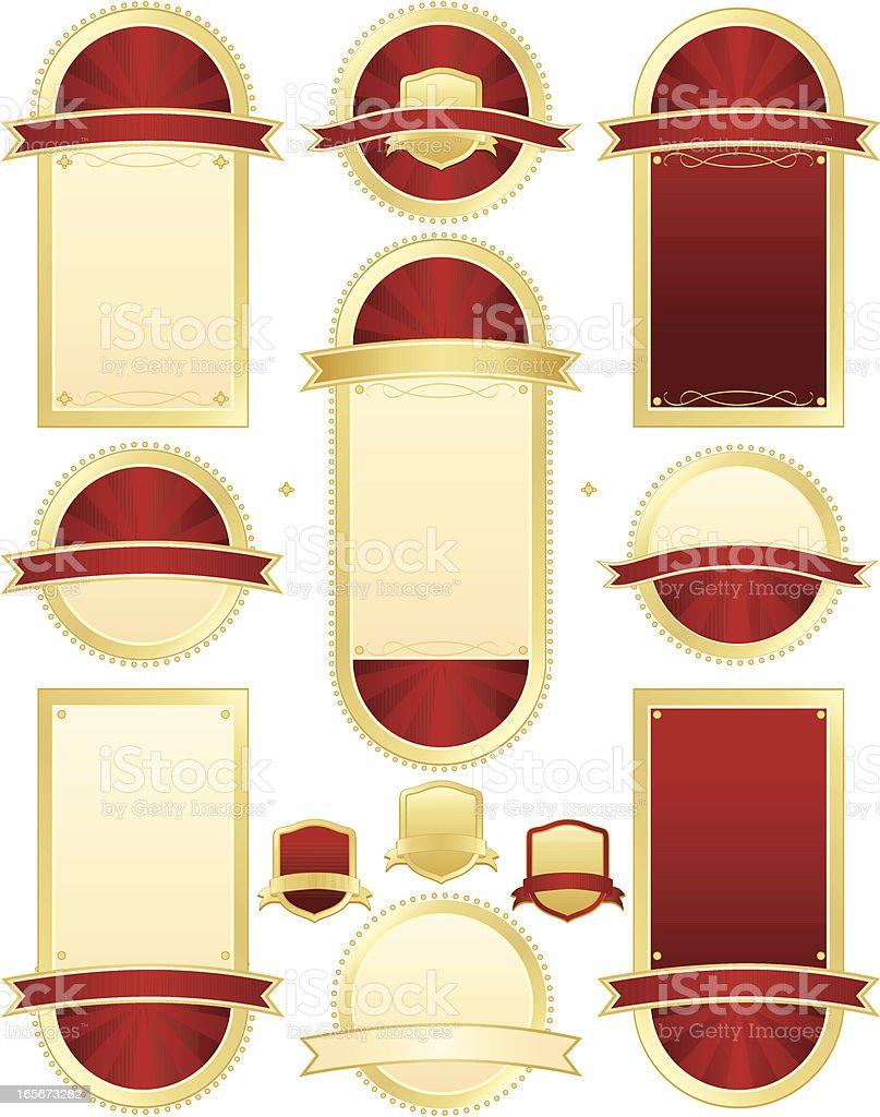 Robben und Schilder Set-Rot, Gold-Metallic Lizenzfreies vektor illustration