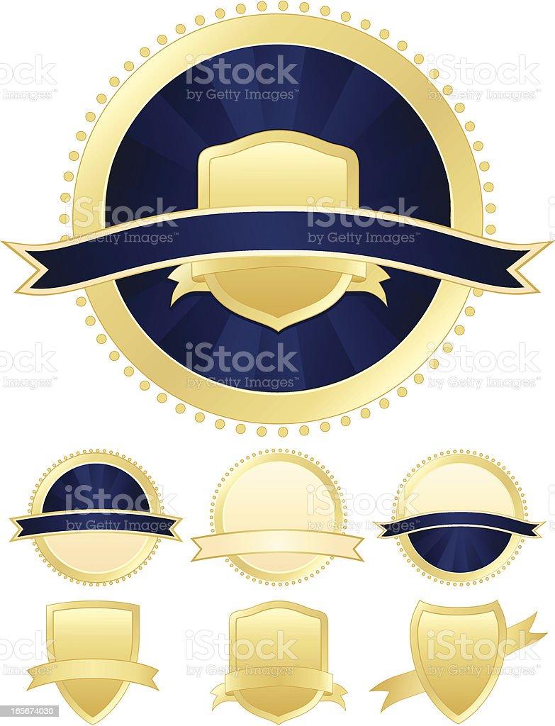 Seals and Ribbons Set - Rich Blue, Gold royalty-free stock vector art