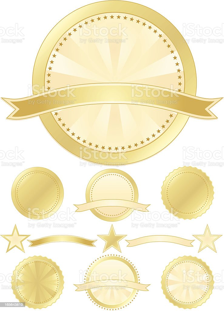 Seals and Stars Set - Gold, Cream royalty-free stock vector art