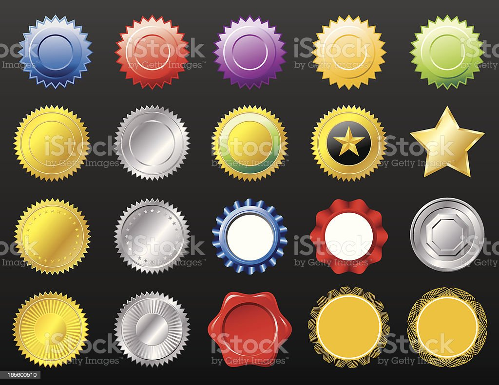 20 seals in multiple colors and shape royalty-free stock vector art