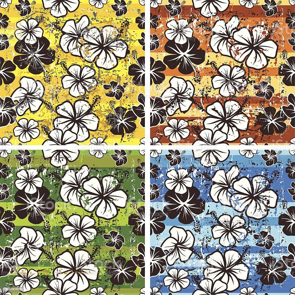 Seamles grunge hibiscus royalty-free stock vector art