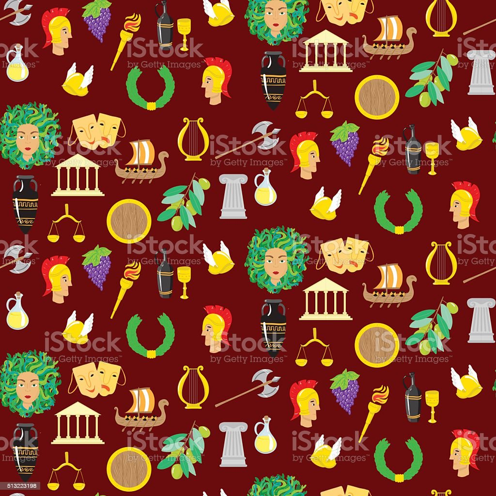 Seamles pattern with elements of ancient Greece vector art illustration