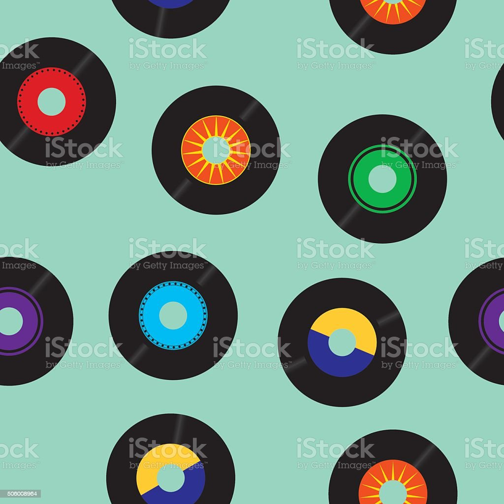 Seamless 45 RPM records Pattern vector art illustration