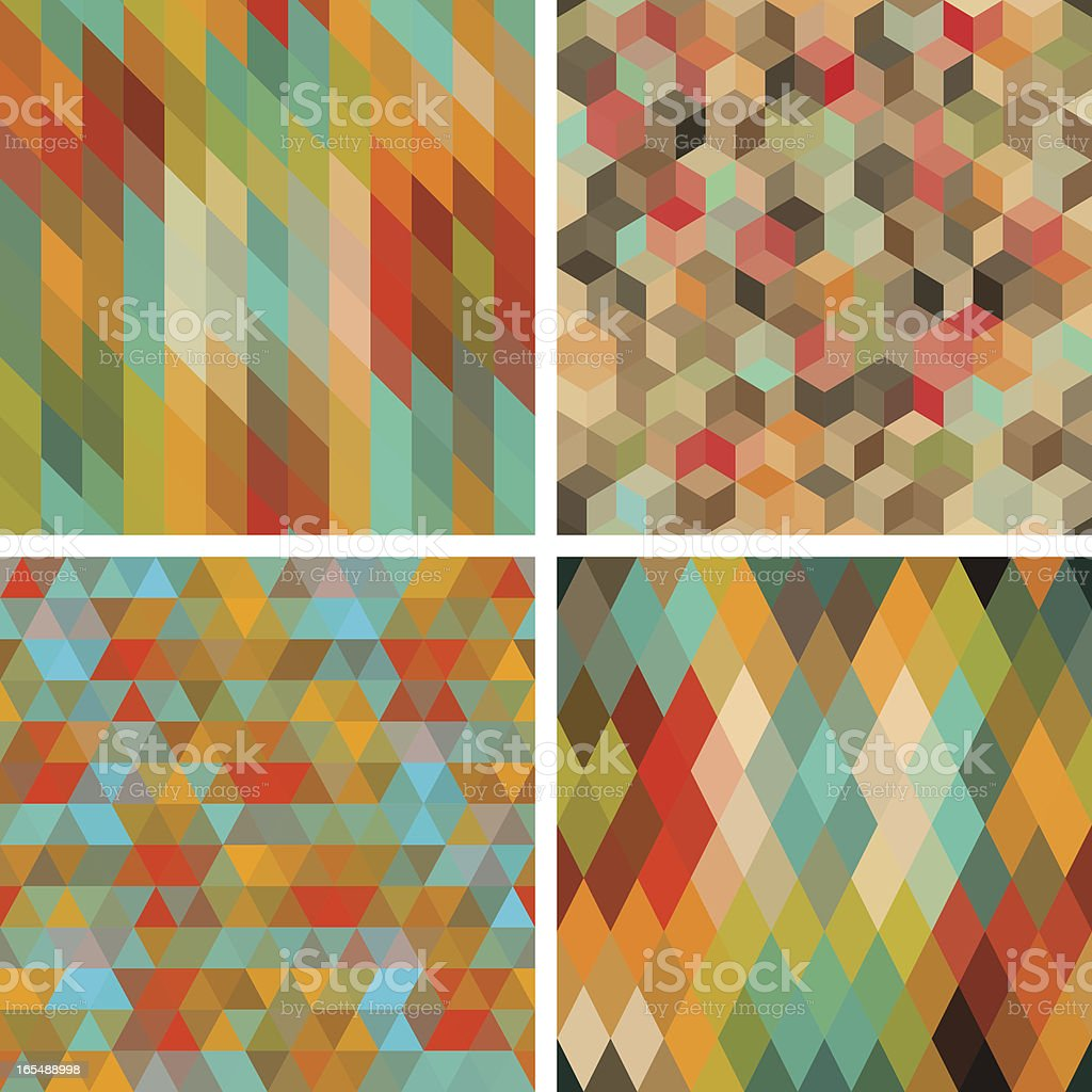 Seamless abstract geometric patterns set in earthy colors vector art illustration
