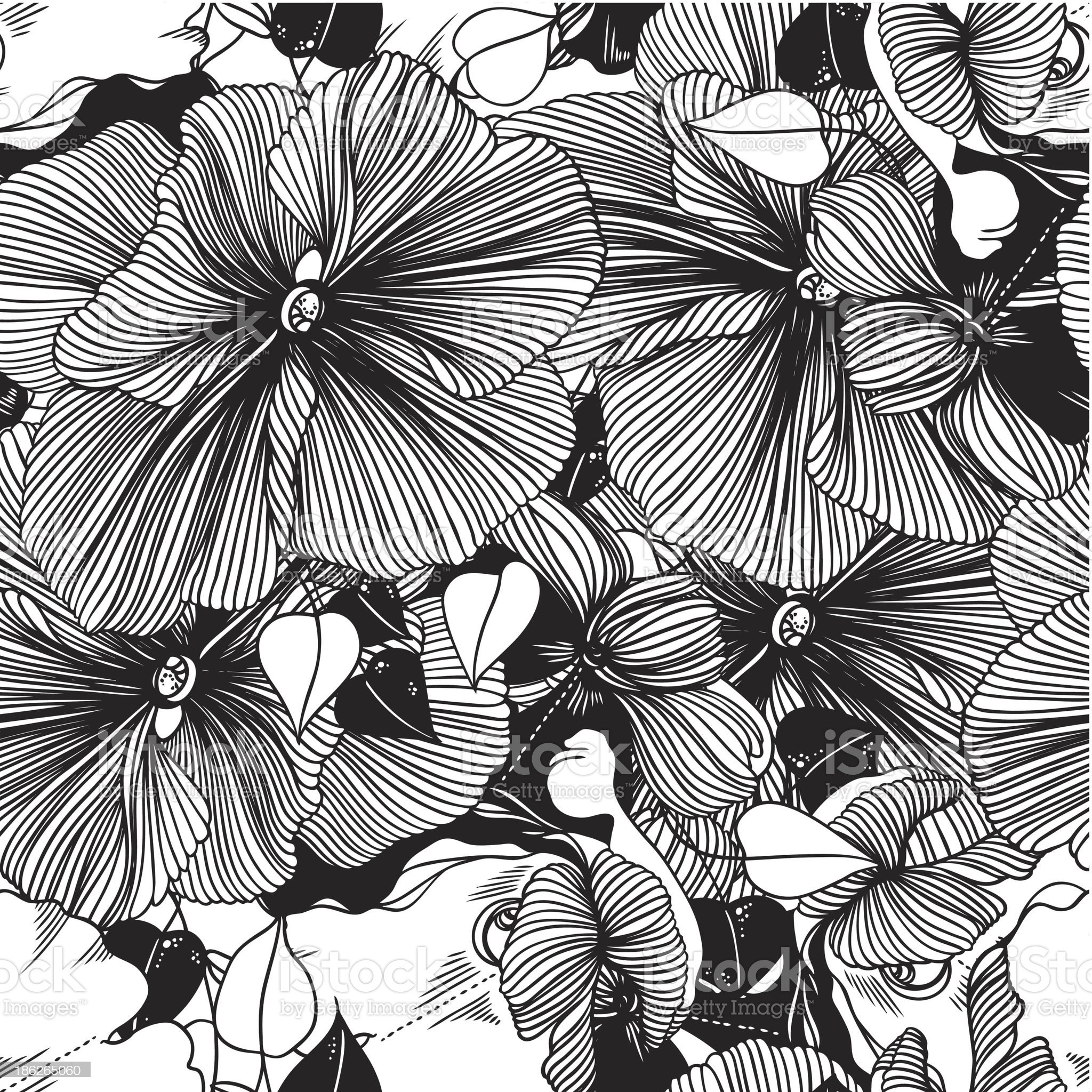 seamless abstract monochrome vector pattern from flowers royalty-free stock vector art