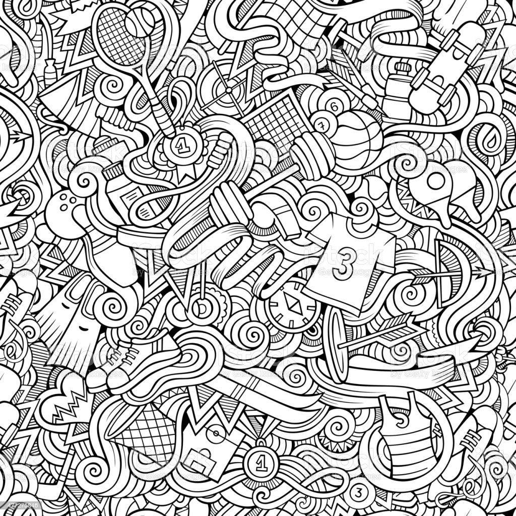 Seamless abstract pattern sports and fitness vector art illustration