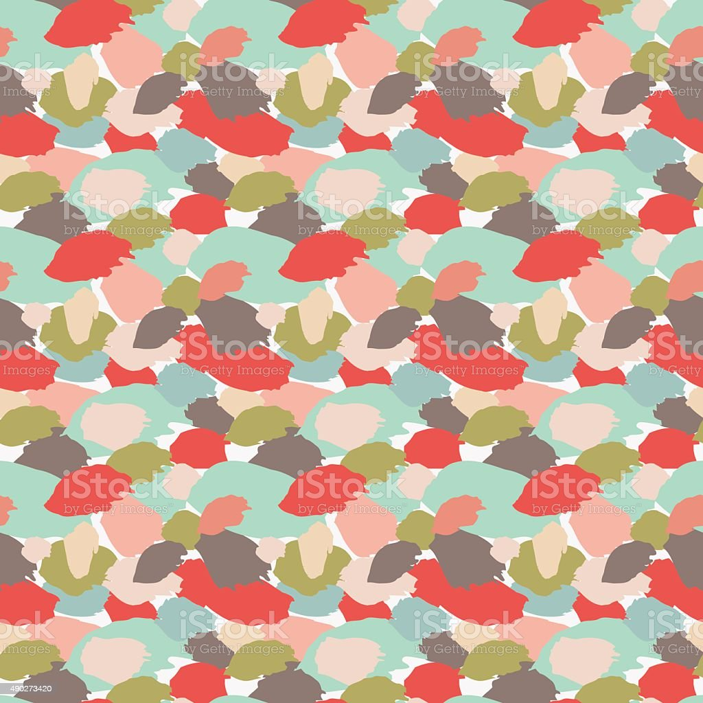 Seamless abstract pattern with brushstrokes and splatters in pastel colors vector art illustration