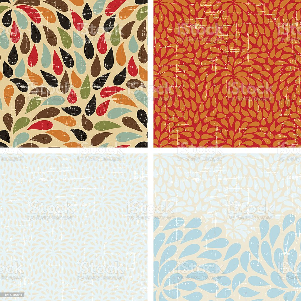 Seamless abstract retro drops patterns. royalty-free stock vector art
