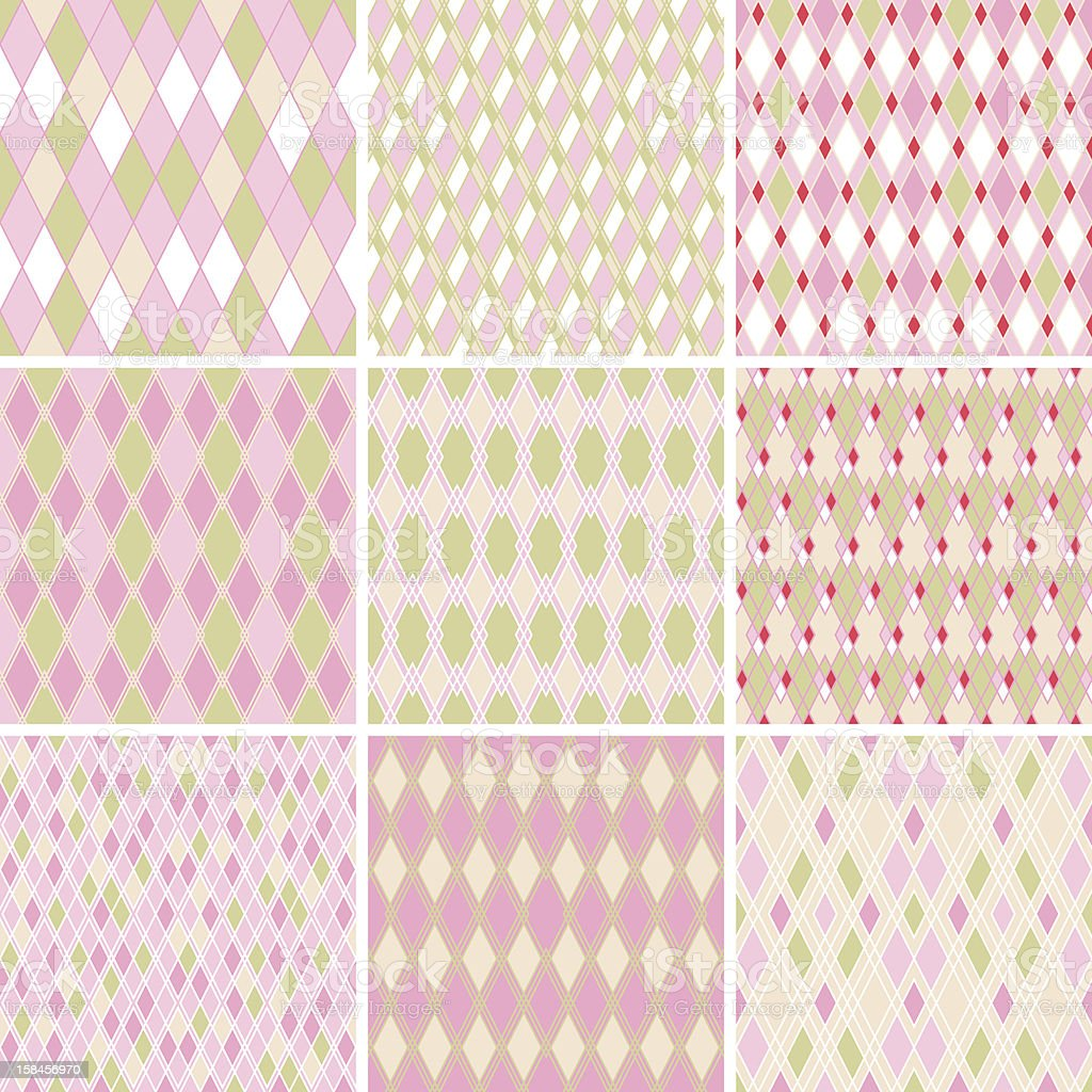 Seamless abstract retro pattern. Set of 9 geometric texture. royalty-free stock vector art