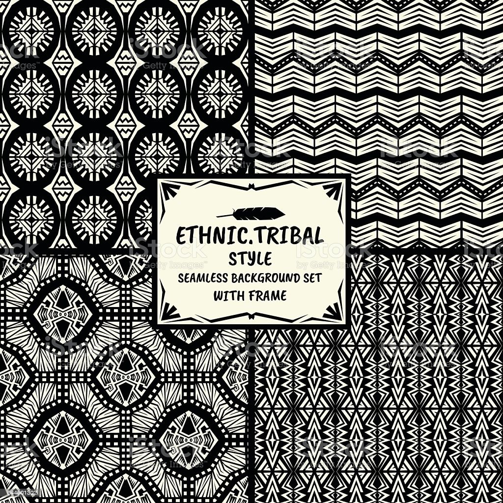 Seamless abstract vector ethnic pattern collection in monochrome vector art illustration