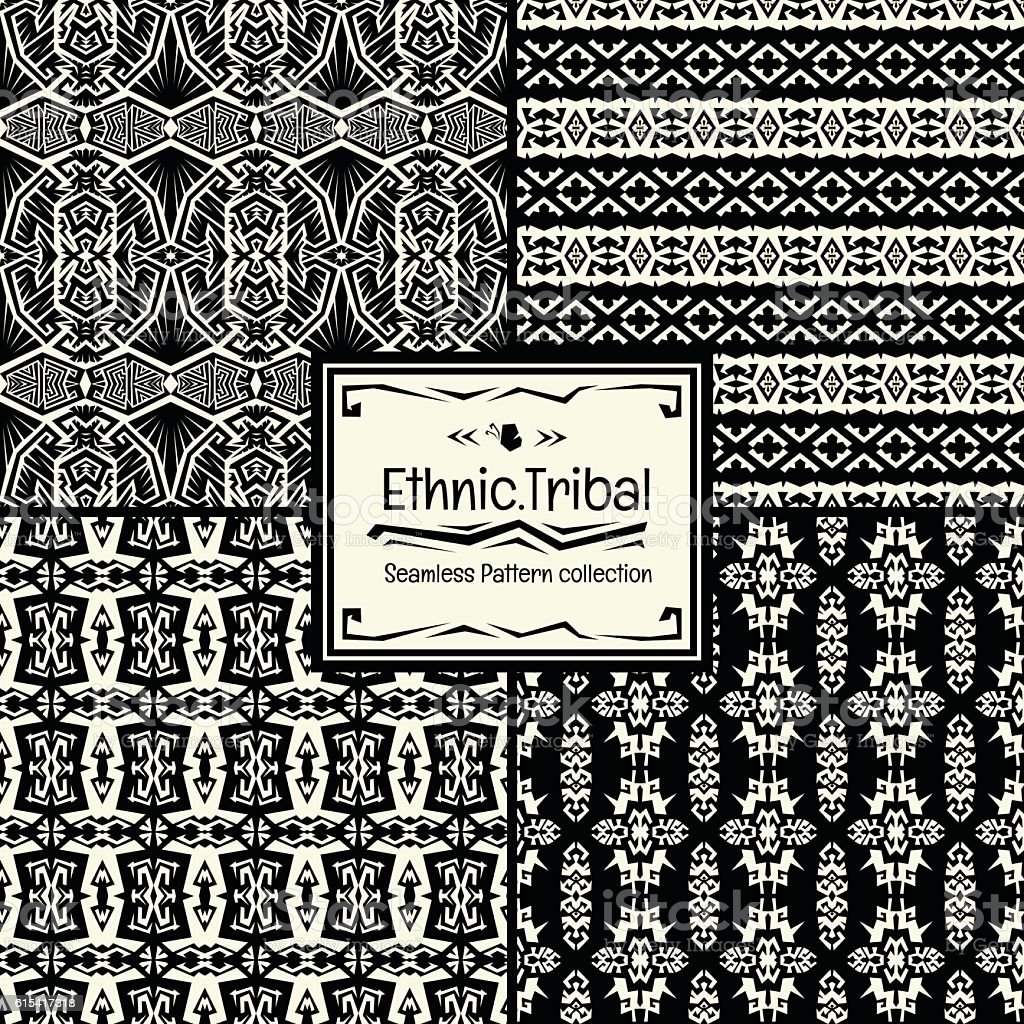 Seamless abstract vector pattern collection ethnic tribal. vector art illustration