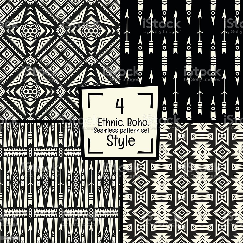 Seamless abstract vector pattern  texture in black and white background vector art illustration