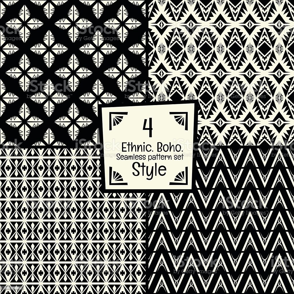 Seamless abstract vector tribal pattern texture in monochrome background vector art illustration