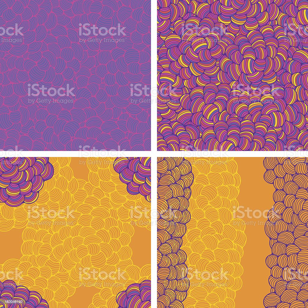Seamless abstract wave hand-drawn patterns. royalty-free stock vector art