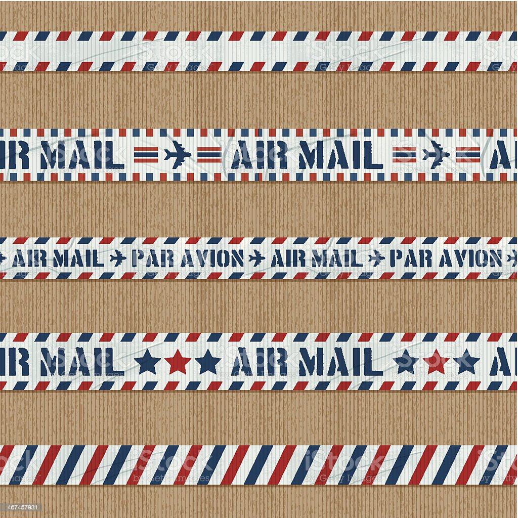 seamless air mail duct tape banners vector art illustration