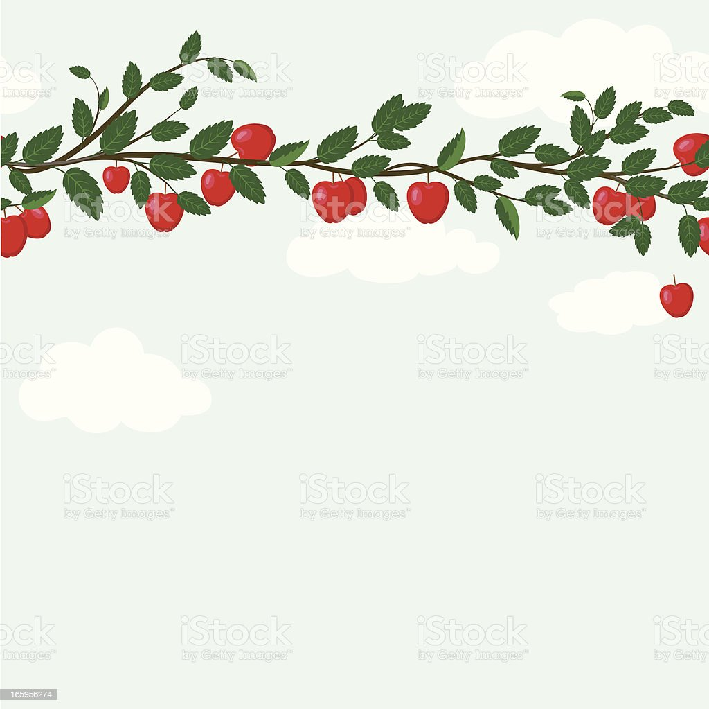 Seamless Apple Branch On Sky Pattern ` royalty-free stock vector art