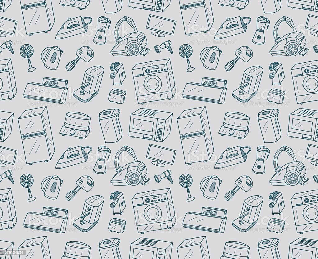 Seamless Appliances Doodles vector art illustration