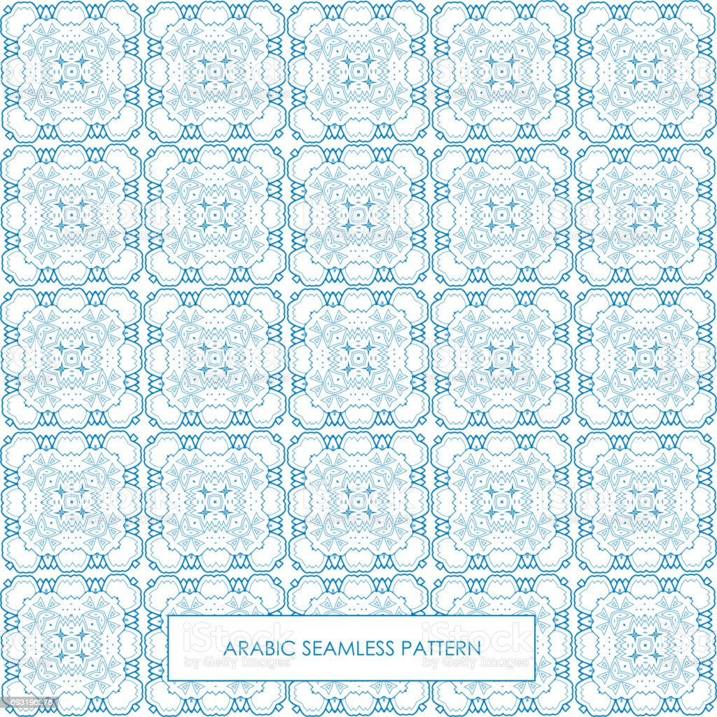 Seamless arabic pattern blue vector art illustration