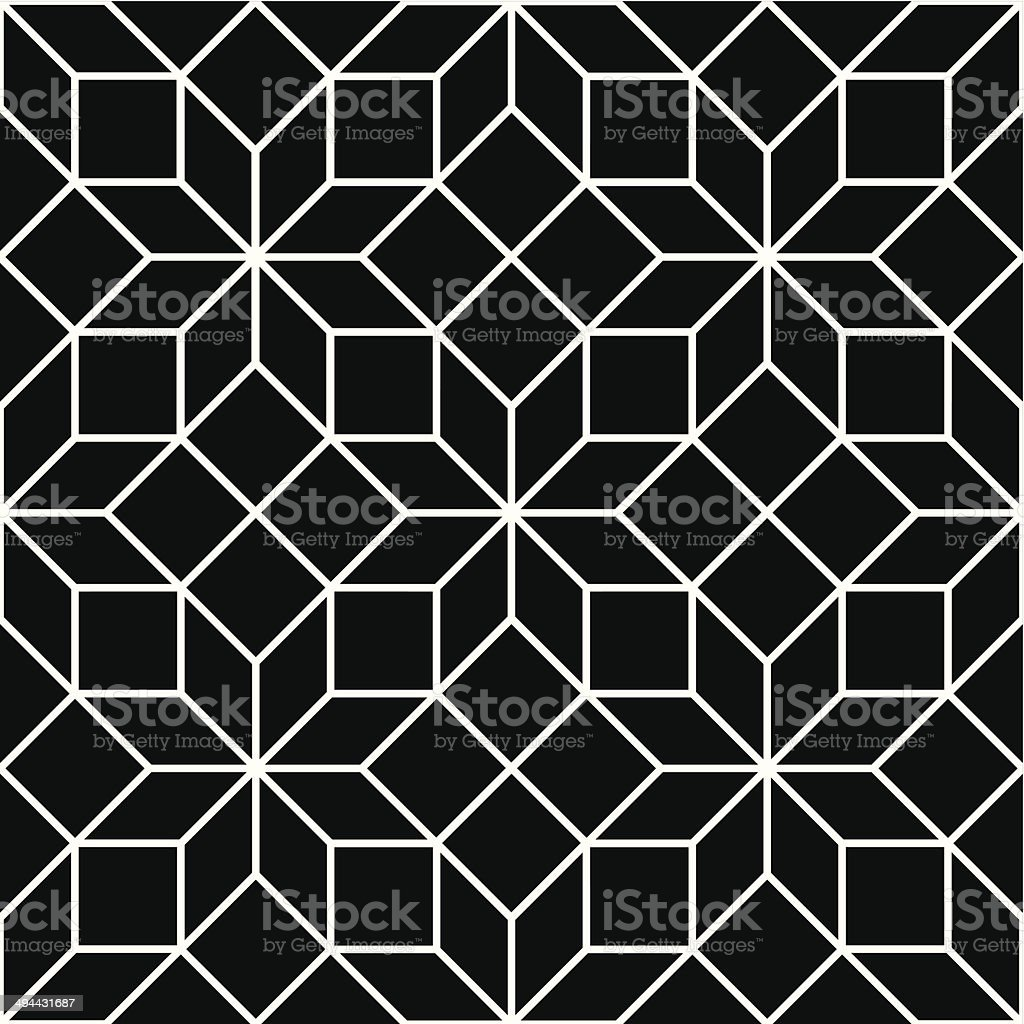 Seamless Art Deco Tracery Pattern Background - Black and White royalty-free stock vector art